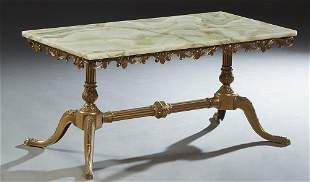 French Louis XV Style Onyx Top Brass Coffee Table, 20th