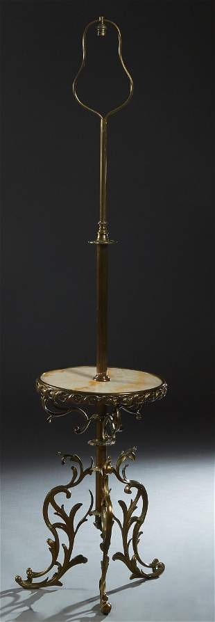 French Empire Style Brass and Onyx Floor Lamp, early