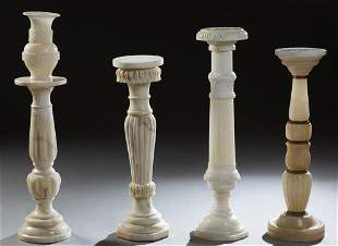 Group of Five French Carved Alabaster Pieces, early