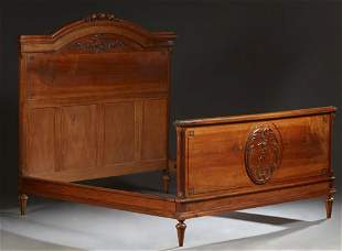 French Louis XVI Style Carved Walnut Double Bed
