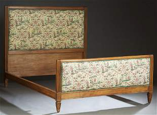 French Carved Beech Louis XVI Style Double Bed, 20th