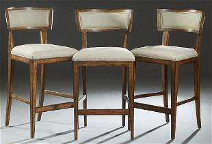 Set of Three Contemporary Carved Mahogany Bar Stools,