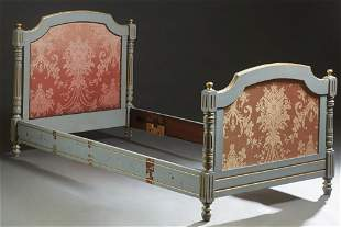 French Carved Polychromed Beech Louis XVI Style Bed,