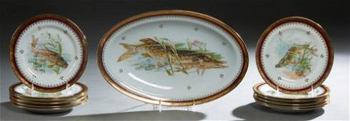 French Limoges Thirteen Piece Porcelain Fish Set, early