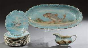 Fourteen Piece English Ceramic Fish Set, c. 1900, by