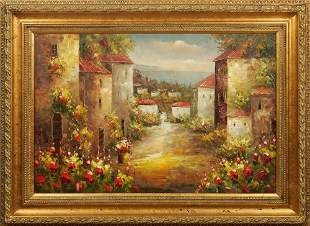 """Chinese School, """"Continental Village with Flowers,"""""""