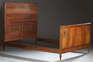 French Carved Walnut Louis XVI Style Double Bed, c.