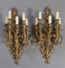 Pair of Large Impressive Louis XVI Style Gilt Bronze