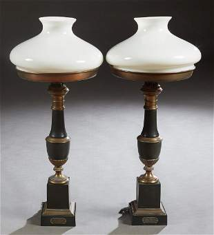 Pair of French Patinated and Gilt Brass Moderator