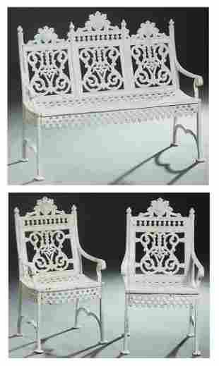 Three Piece American Victorian Cast Iron Patio Set,