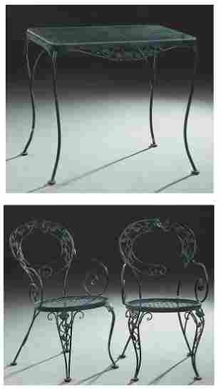 Three Piece Wrought Iron Glass Top Dining Set,