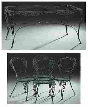 Five Piece Wrought Iron Dining Set, 20th/21st c.,