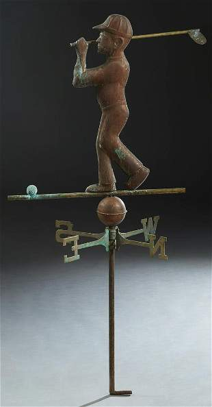 Copper and Brass Weathervane, mid 20th c., in the form