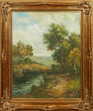 """Chinese School, """"Landscape with River,"""" 20th c., oil on"""