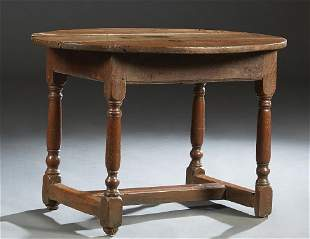 French Provincial Louis XIV Style Carved Oak Oval Side