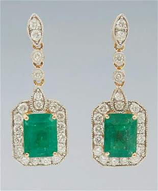 Pair of 14K Yellow Gold Pierced Earrings, with a
