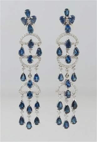 Pair of 14K White Gold Pendant Sapphire Earrings, the