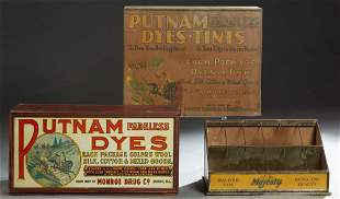 Group of Three Tole Countertop Advertising Items, early