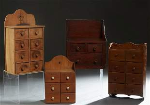 Group of Four Wooden Wall Cabinets, early 20th c.,