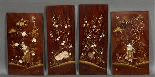 Group of Four Oriental Inlaid Panels, 20th c., with