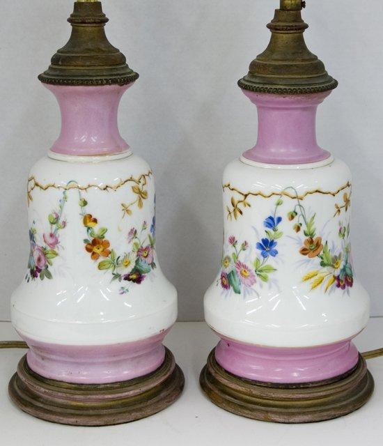 3: Pair of Old Paris Porcelain Carcel Lamps, 19th c., n