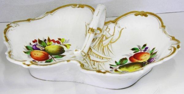 5: Old Paris Style Porcelain Handled Divided Serving Di