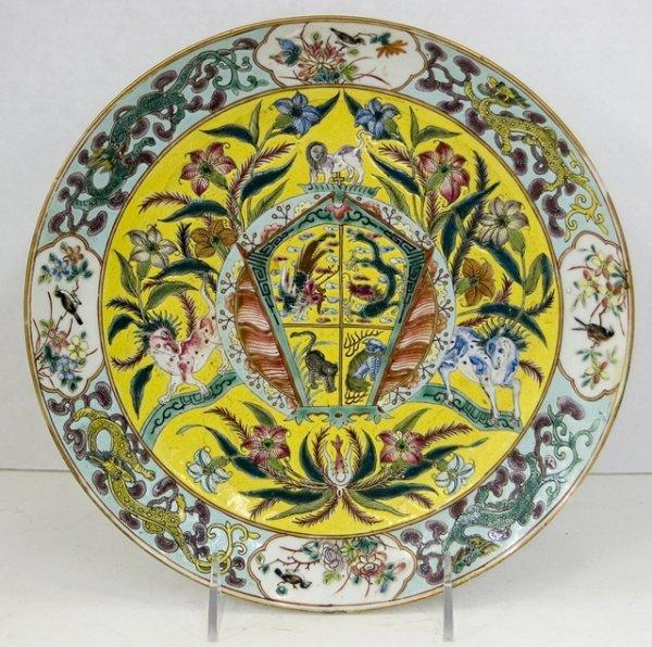 7: Chinese Famille Verte Polychromed Plate, 19th c., de