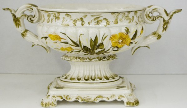 11: Italian Hand Painted Handled Urn, 20th c., with rel