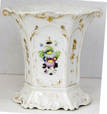 12: Old Paris Porcelain Hexagonal Flare Vase, 19th c.,