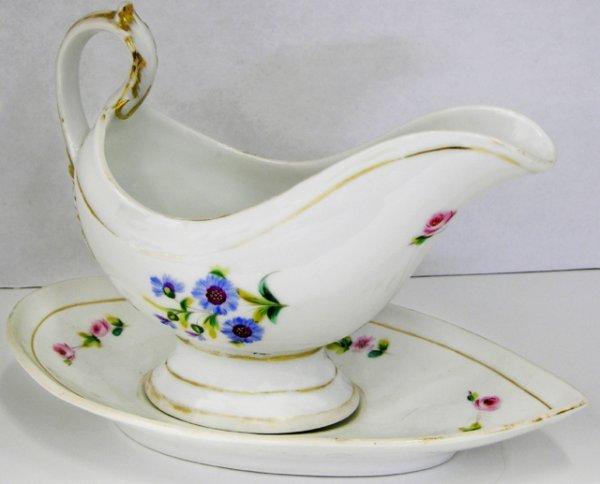 14: Large Old Paris Porcelain Sauce Boat and Flat, mid