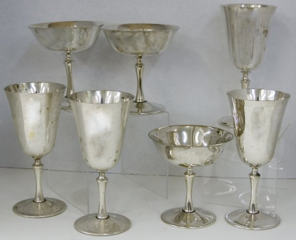 15: Group of Fifteen Italian Silver Plated Wine Stems,