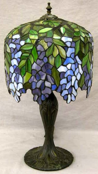 17: Contemporary Tiffany Style Leaded Glass Wisteria Sh