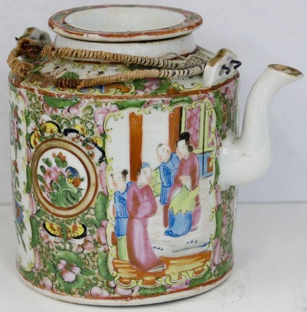 20: Chinese Rose Medallion Porcelain Teapot, 19th c., t