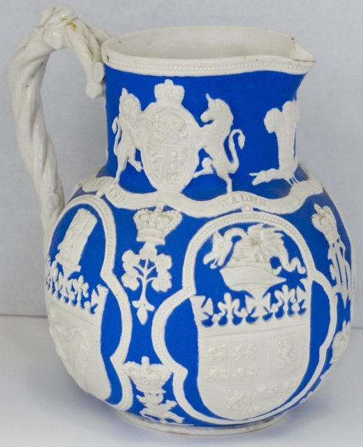 22: English Victorian Pottery Pitcher, 19th c., by W. C
