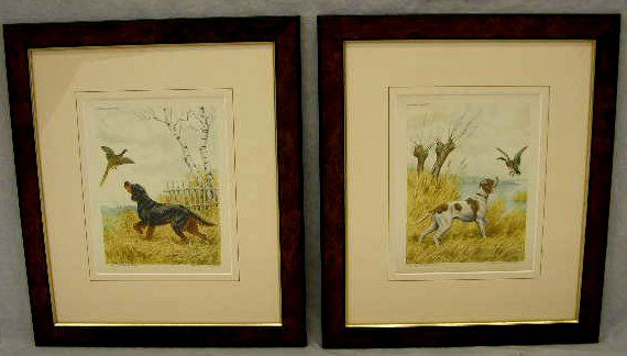 "583: Paul Wood, ""Hunting Dogs,"" 20th c., pair of etchin"