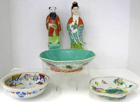 7: Five Pieces of Oriental Earthenware- a pair of Chine