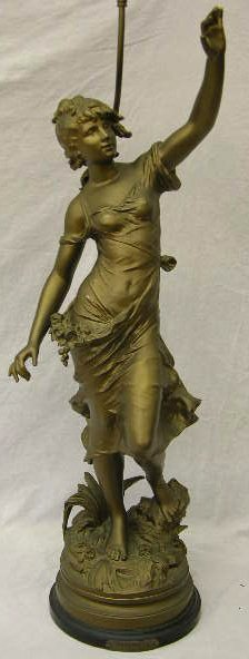 9: Art Nouveau Gilt Spelter Newel Post Lamp, c. 1900, d