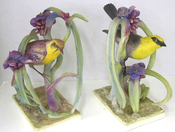 14: Pair of Royal Worcester Porcelain Bird Figures, des