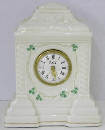 "16: Belleek Porcelain ""Cashel"" Quartz Mantel Clock, 20t"