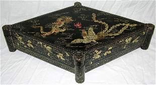 78 Unusual Oriental Black Lacquer Papier Mache Covered