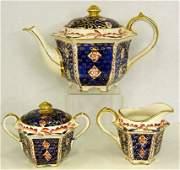 546 English Oriental Style Three Piece Porcelain Tea S