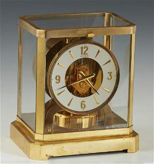 Jaeger Lecoultre Atmos Brass and Glass Mantel Clock,