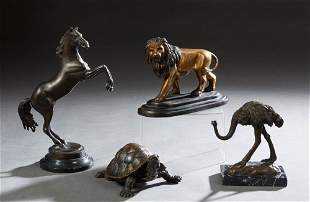 Group of Four Patinated Bronze Animalier Figures,