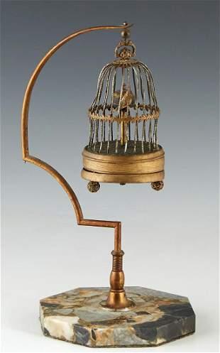 Miniature Brass Bird Cage Annular Clock, early 20th c.,