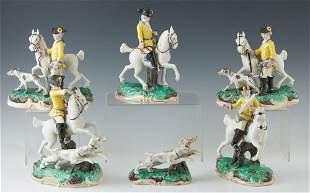 Six Piece German Mounted Hunt Party Porcelain Figural