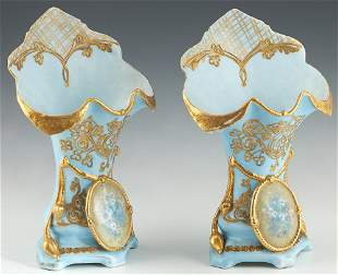 Diminutive Pair of Continental Porcelain Flare Vases,