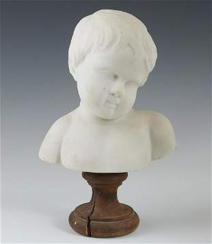 Continental Carved Marble Bust of a Child, late 19th