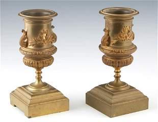 Pair of Gilt Bronze Garniture Urns, 19th c., with an