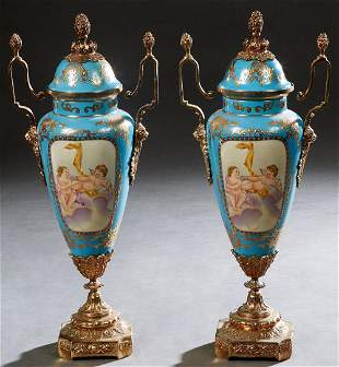 Pair of Sevres Style Brass Ormolu Mounted Porcelain