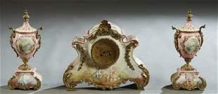 Three Piece French Ormolu Mounted China Clock Set, late